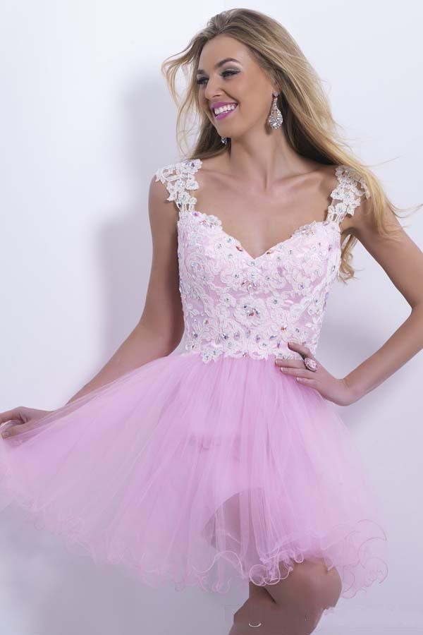 Modest Pink Tulle Homecoming Dress,Backless Homecoming Dresses ,Short Mini Prom