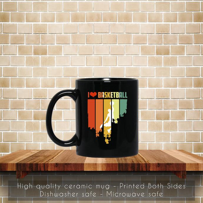 I Love Basketball Retro Edition Coffee Mug, Tea Mug, Coffee Mug, I Love