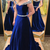 Off the Shoulder A Line Long Royal Blue Crystal Prom Dress