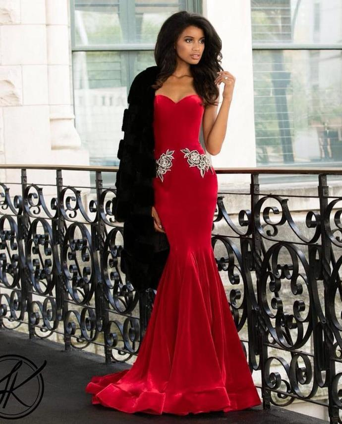 Red Mermaid Velvet Prom Dresses Sweetheart Evening Dresses