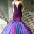 Lace Beaded Mermaid Pageant Dress, Purple Ombre Prom Gown Dress