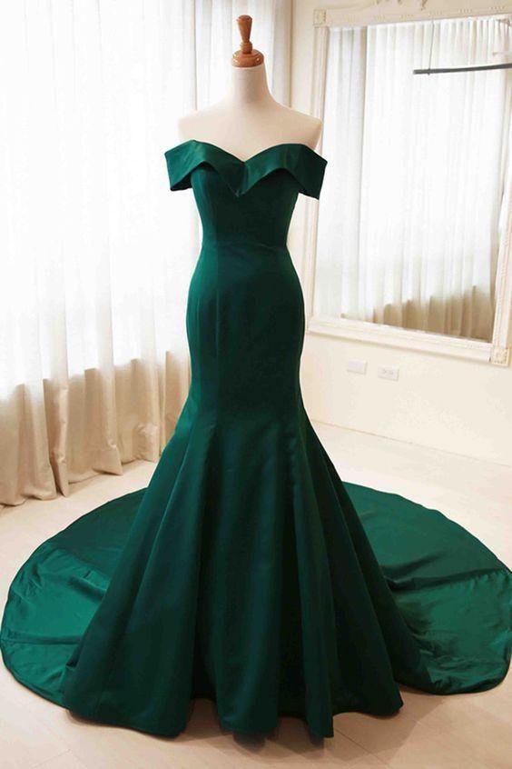 Dark Green Mermaid Prom Dress Off Shoulder Elegant Pageant Dress