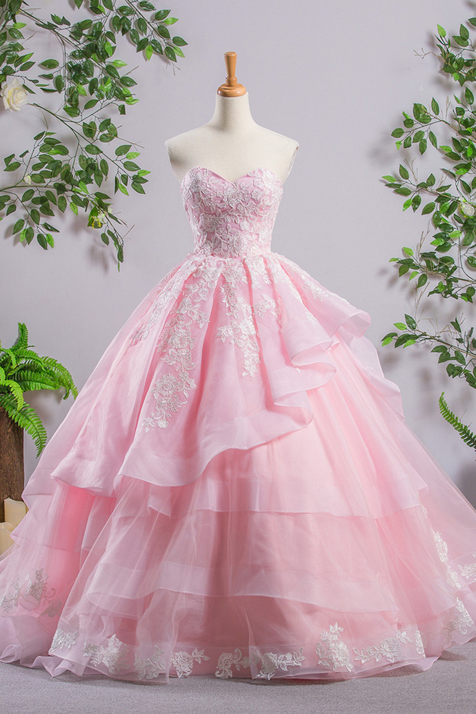 Sweetheart Pink A-line Wedding Dresses,Lace Cheap Wedding Dress,Evening Prom