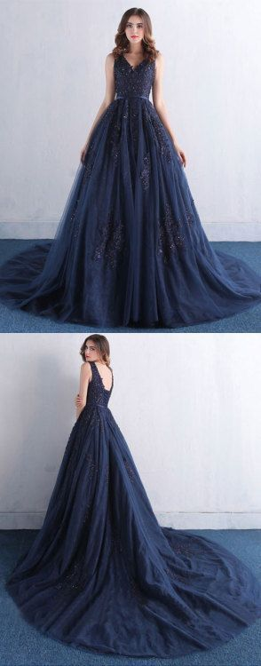 Sexy Navy Blue Prom Dress, Tulle Party Dress, A Line Long Evening Dress