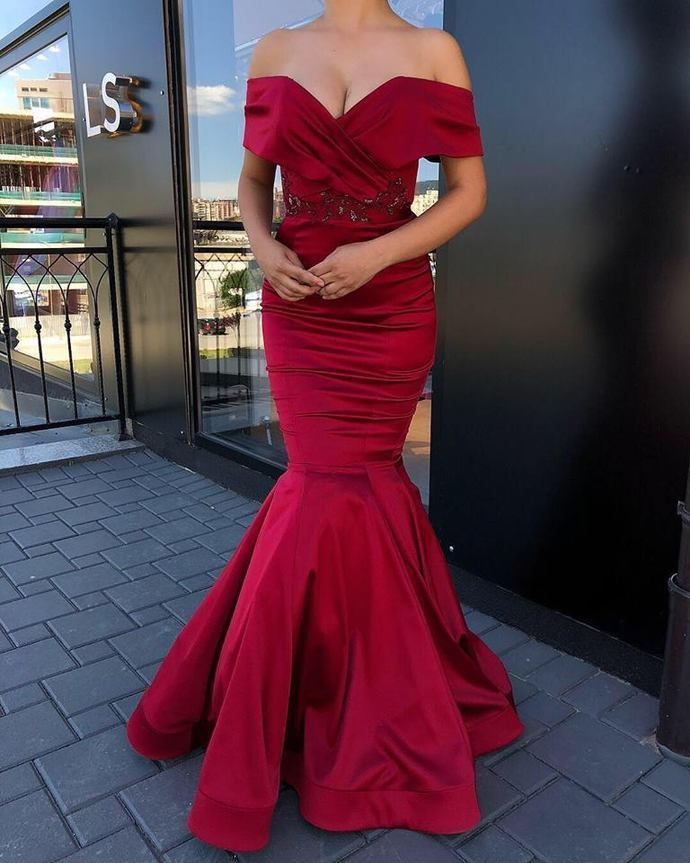 Sexy Prom Dress,Strapless Satin Mermaid Prom Dress,Party Gowns,V-neck Prom