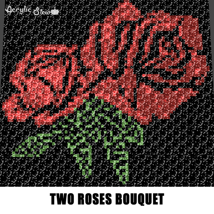 Roses Are Red Two Roses Floral Bouquet crochet graphgan blanket pattern; c2c,