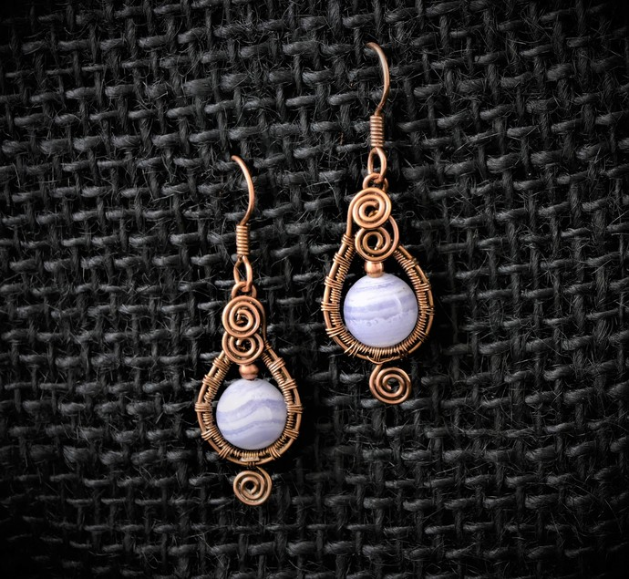 Blue Lace Agate Dangle Copper Earrings; 3 Spiral Woven Wire Wrapped Earrings