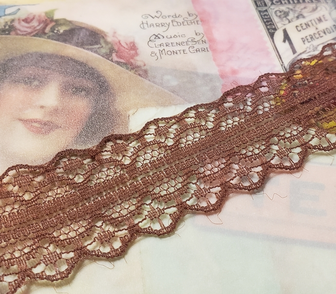 Dark brown lace trim 1 yd