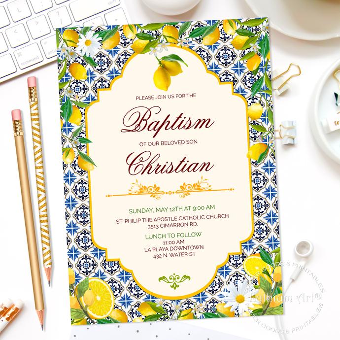 Invitación Digital Primera Comunión, Bautizo + Diseño Posterior, Limones