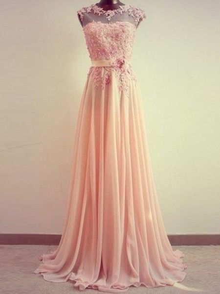 A-Line Round Neck Sweep Train Lace Coral Prom Dress, Formal Dresses, Lace