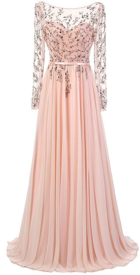 New Fashion Evening Dresses Sparkly Long Sleeves Blush Pink Prom Gowns With Lace