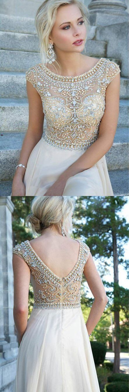 V-back A-line Long Prom Dress With Beading,Popular Wedding Party Dress,Cocktail