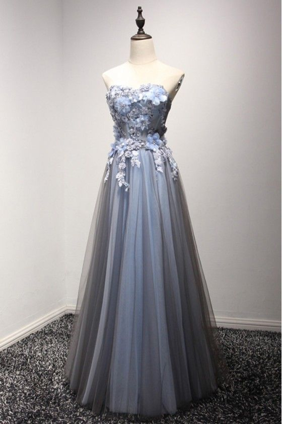 Strapless Long Tulle Prom Party Dress With Special Floral Bodice