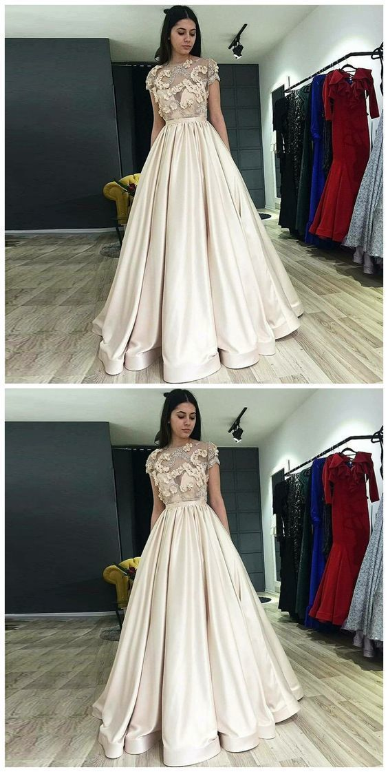 A-Line Illusion Round Neck Light Champagne Prom Dress With Appliques Pleat