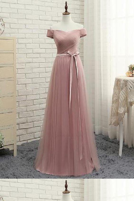 Evening Dress A-Line, Prom Dresses Pink, Simple Prom Dresses