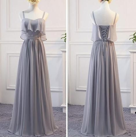 Grey Chiffon Simple Straps Floor Length Bridesmaid Dress, Beautiful Bridesmaid