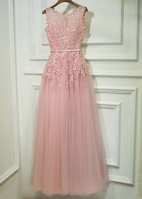 A-Line Scoop Neckline Dusty Pink Tulle Sleeveless Long Bridesmaid Dresses With