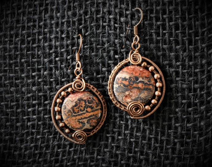 Leopardskin Jasper Pendant and Earrings Set; Woven Wire Wrapped Pendant include