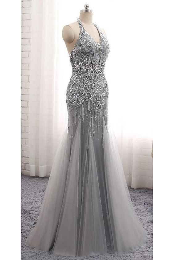 Sparkly Halter Beaded Mermaid Tulle Prom Dress Custom Made Long Evening Gowns