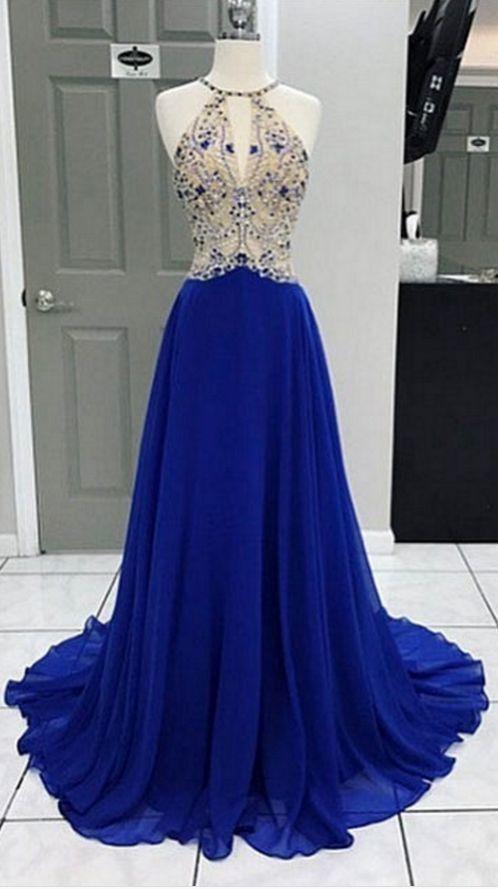 Royal Blue Long Chiffon Prom Dress Halter Neck Beaded