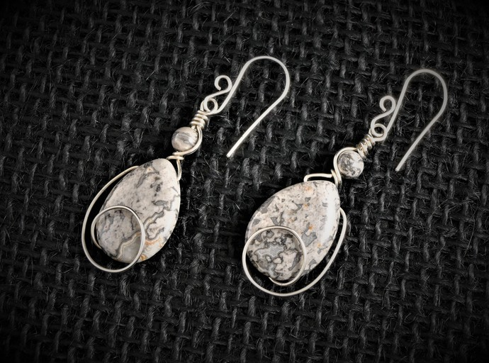 Silver Crazy Lace Agate Sterling Silver Dangle Earring (E106)