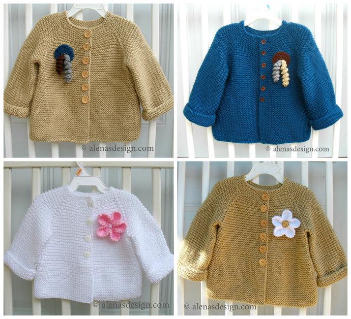 Baby Cardigan with Embellishments Knitting Pattern 228 Baby Jacket 3, 6, 12, 24