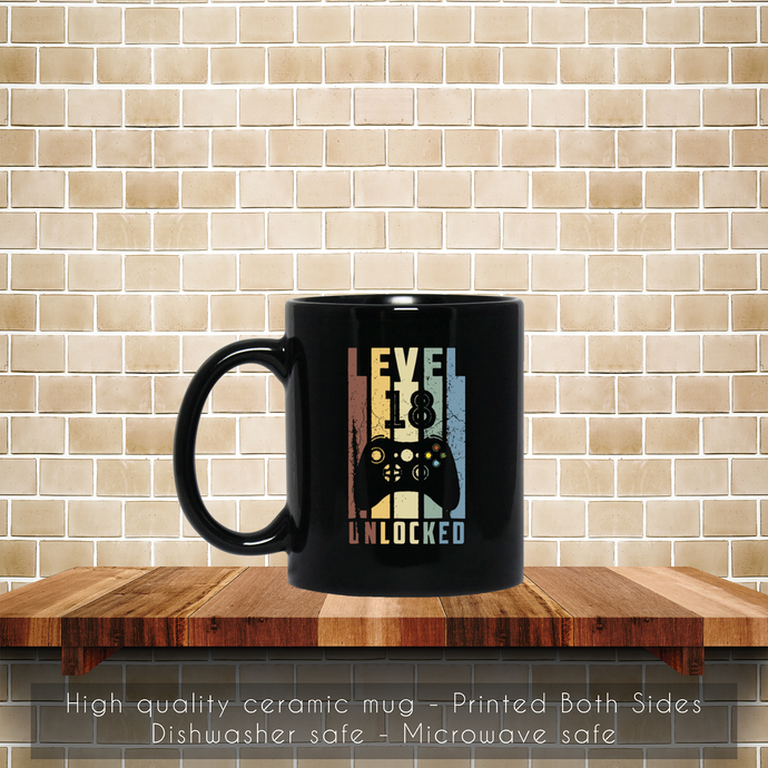 Level 18 Unlocked, 18th Birthday, Boy Game Coffee Mug, Tea Mug, 18th Birthday