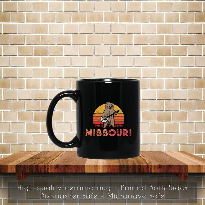 Missouri Bluegrass Banjo Bear Funny Retro Coffee Mug, Tea Mug, Coffee Mug, Retro