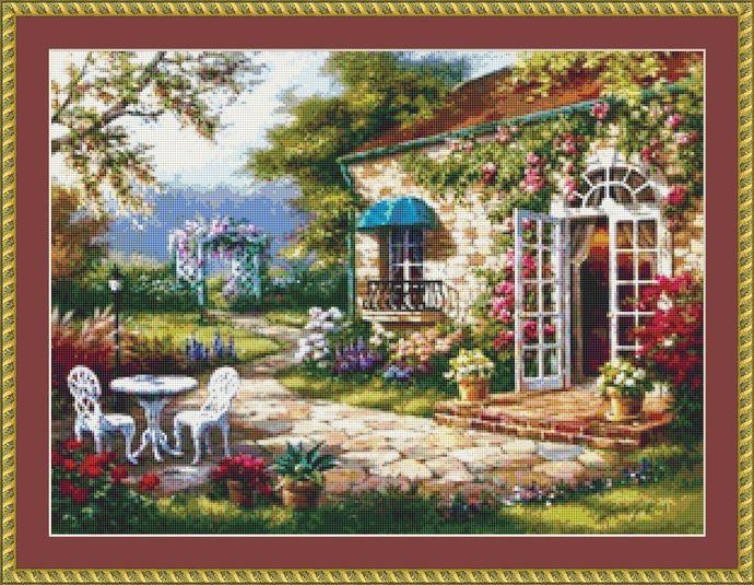 Garden Terrace Cross Stitch Pattern - Instant Digital Downloadable Pattern