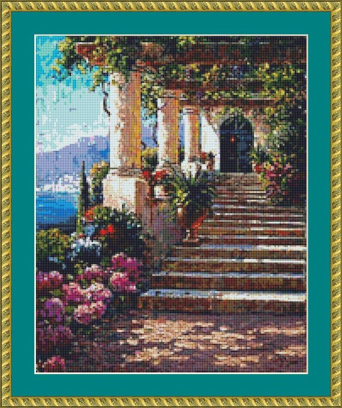 Up The Steps Cross Stitch Pattern - Instant Digital Downloadable Pattern