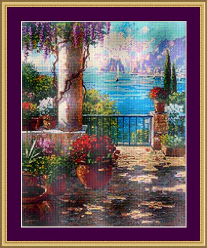 View To The Sea Cross Stitch Pattern - Instant Digital Downloadable Pattern