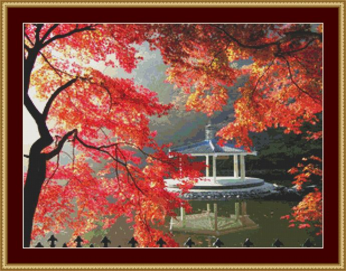 Autumn Gazebo Cross Stitch Pattern - Instant Digital Downloadable Pattern