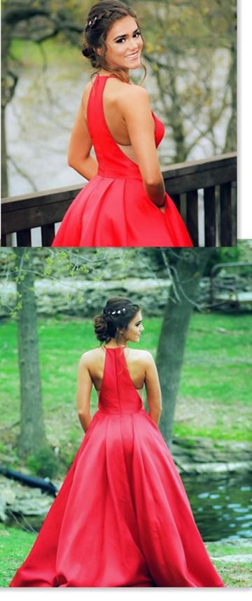 Halter Red A-Line Prom Dress, long prom dress, evening dress,prom dress, G163