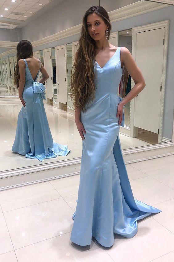 Mermaid V-Back Watteau Sky Blue Prom Dress