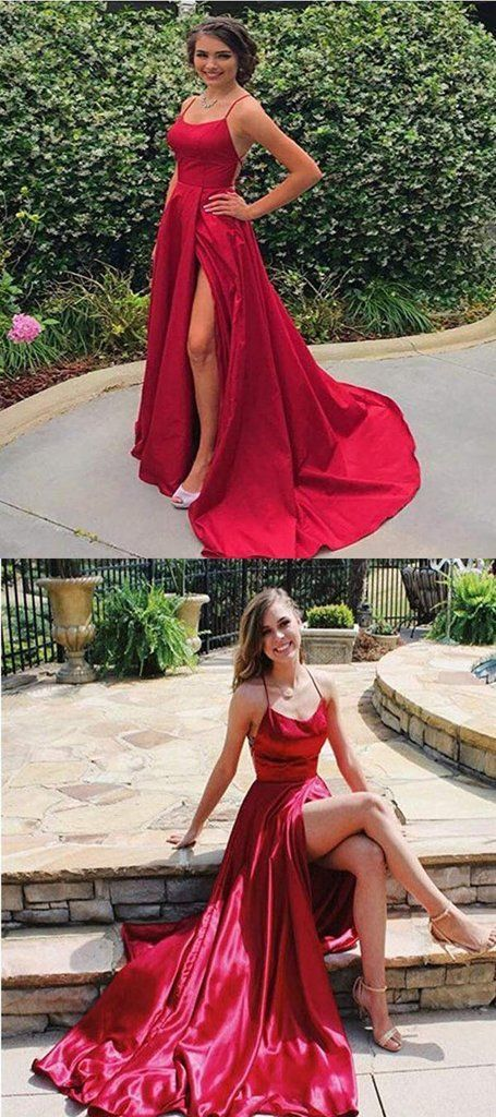 Sexy Spaghetti Straps Side Slit Red Satin Long Prom Dresses