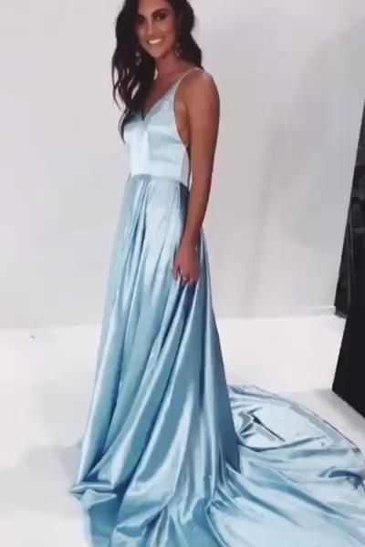 A-Line Light Sky Blue Satin Prom Dress with Train