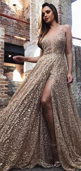 Shiny Gold Sequin Lace Spaghetti Strap A-line Prom Dresses