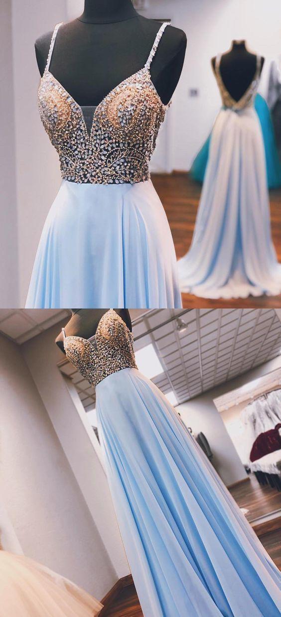 Princess Beaded Blue Chiffon Long Prom Dress