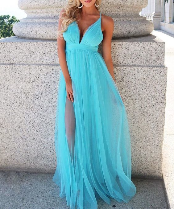 Tulle Bridesmaid Dresses,Long Formal Dress,Wedding Party Dress,Simple Evening