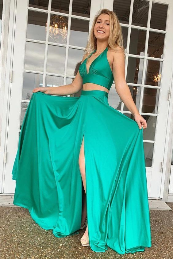 Two Piece Long Turquoise Prom Dress with Slit
