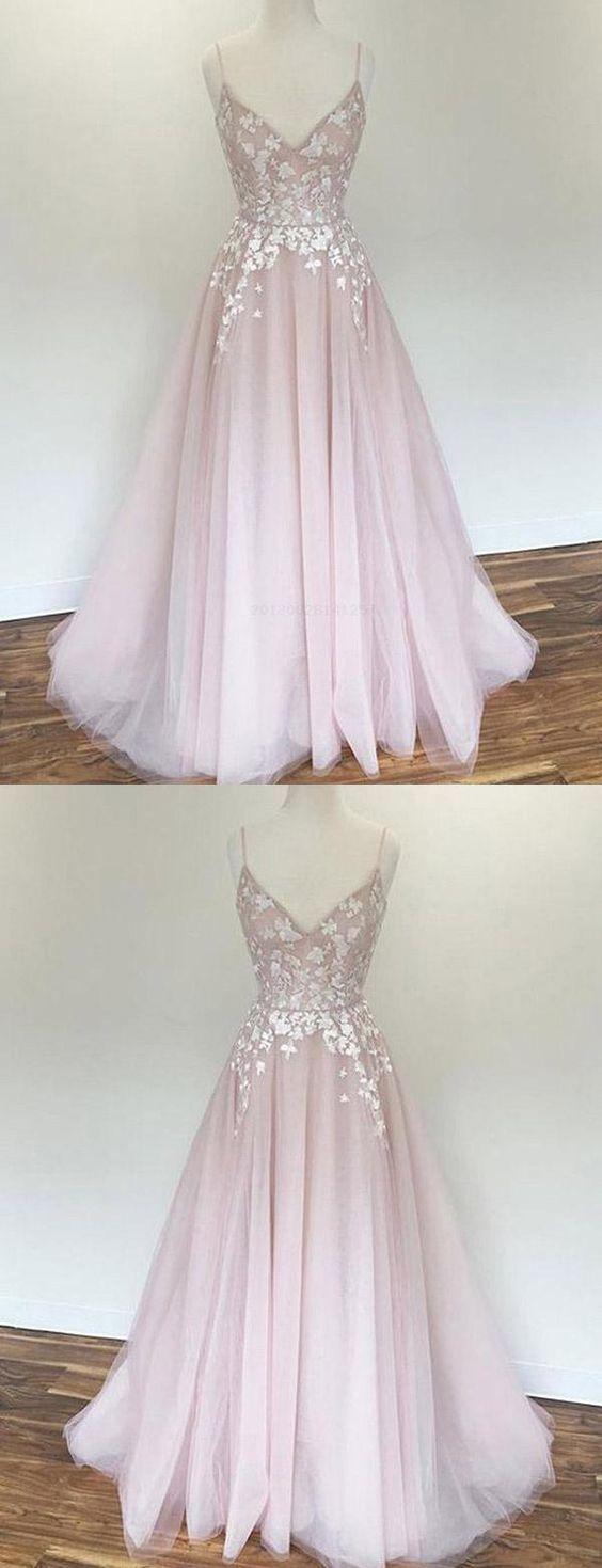 Appliques Prom Dresses, Pink Prom Dresses, Prom Dresses A-Line, Prom Dresses