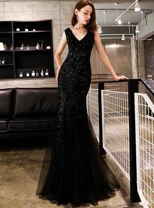 Black Mermaid Sequins V-neck Prom Dress