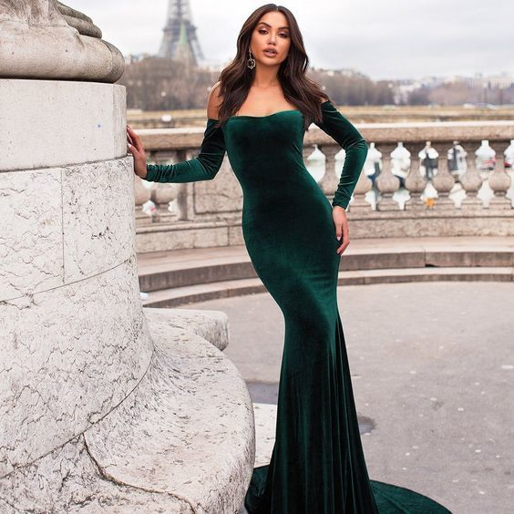 Most Popular Off Shoulder Long Sleeve Mermaid Velvet Backless Prom Dresses,