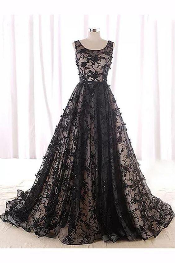 Cheap Popular Prom Dress 2019 A-line Scoop Floor-length Sleeveless Tulle Prom