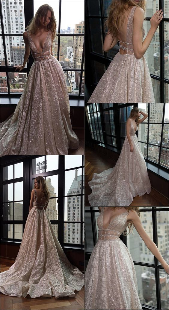 A-Line Deep V-Neck Backless Court Train Champagne Lace Prom Dress