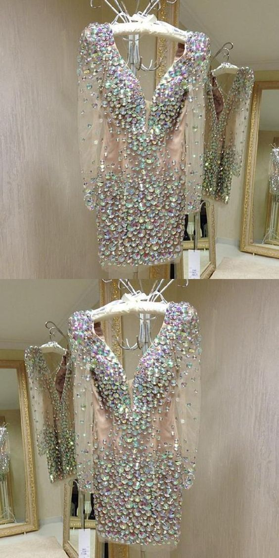 2019 Prom Dress Deep V Neck Long Sleeves Homecoming Dresses Crystal Beaded