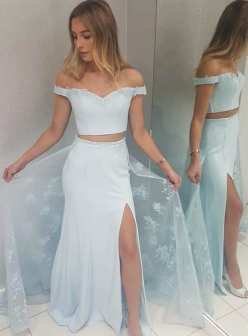 Light Blue Two Piece Off-the-Shoulder Appliques Prom Dress With Side Split