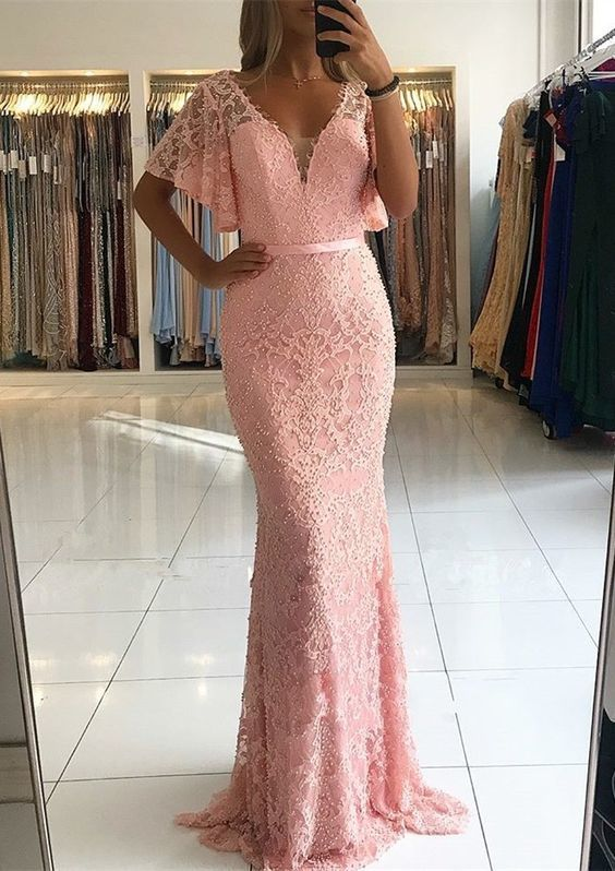 Gorgeous Pink Lace Mermaid Evening Dresses Floor Length V Neck Low Back With