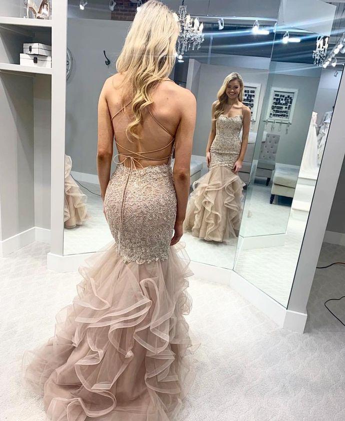 Mermaid Lace Sweetheart Prom Dress, long prom dress, evening dress,prom dress,