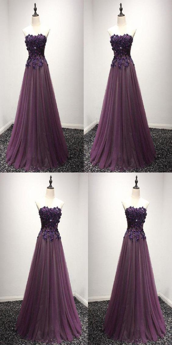 Nice Prom Dress Lace Pruple Sweetheart Neck Lace Long Prom Dress, Formal